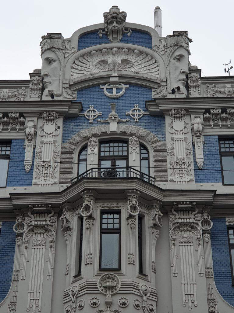 particolare della facciata palazzo liberty in Elizabetes Iela 10b riga