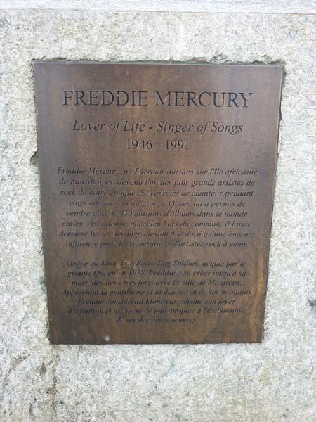Targa sulla Statua di Freddie Mercury a Montreux