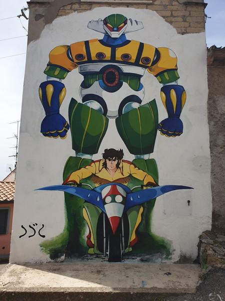 Mazinga murales a Castel Cellesi