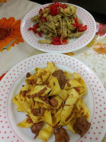 Ristorante Il Transumante Villetta Barrea pappardelle al cinghiale e tagliatelle all'ortica e pomodorini